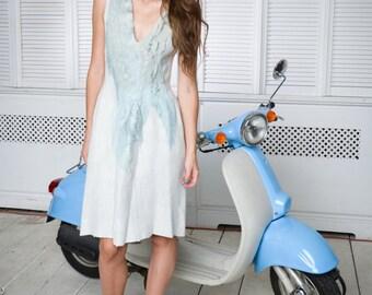 Womens Summer Dress, Oversized Dress, Cut Out Dress, Plus Size Dress, Knee Length Dress, Pleated Dress, Light Dress, Pastel Dress