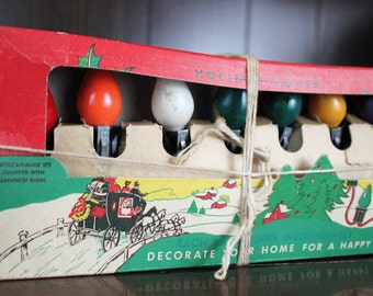 Vintage Christmas Lights in Original Box - Vintage Tree Lights