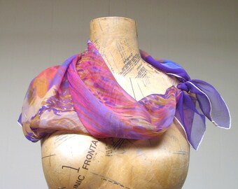 Vintage 1960s Scarf / 60s Chiffon Floral Scarf Square