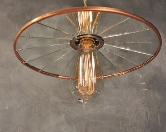 Vintage Industrial Pendant Lamp with Flat Mirror Reflector Shade - Copper - Antique Machine Age Factory Light - Industrial Lighting