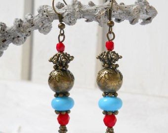 SALE: red and turquoise dangle earrings bronze boho earrings red earrings dangle earrings turquoise earrings bronze earrings