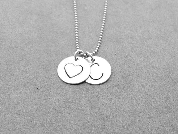 letter c initial necklace sterling silver initial necklace With letter c initial necklace