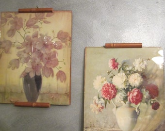 Pair of Bamboo Ledge Frames with Carle J Blenner Floral Lithographs - 1930s J J Newberry Co