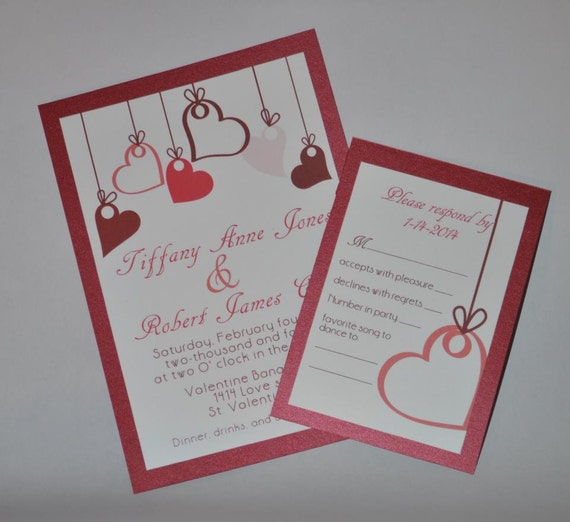 hearts valentine wedding invitation shower birthday wedding