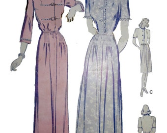 Butterick 2645 Womens 40s Housecoat Sewing Pattern Bust 32