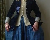 18th century riding habit - navy blue velvet jacket, cream vest and hand dyed skirt. Ready to wear Marie Antoinette dress, rococo gown,