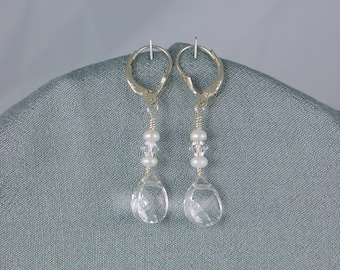 CRYSTAL  WEDDING  EARRINGS with Freshwater Pearl Accents, Simple, Bridal Earrings