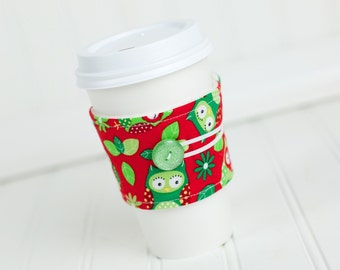 Coffee Sleeve Cozy Red and Green Owl Print Unisex Reusable Cup Cover Great for Ugly Christmas Sweater Party