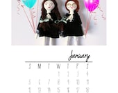 2014 Self Print PDF Monthly Calendar from Dedalos Art Dolls