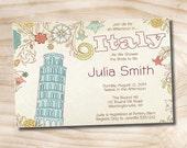 Italian Bridal Shower Invitation - Printable digital file or printed invitations
