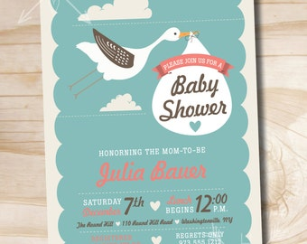 Stork Delivery Baby Shower Invitation - Printable Digital file or Printed Invitations