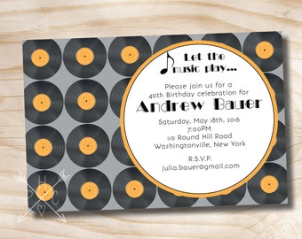 VINTAGE RECORDS Music Theme Birthday Adult Invitation - Printable digital file or printed invitations