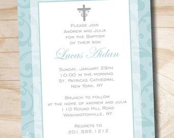 BAPTISM CHIC Custom Baptism Invitation / Christening Invitation / Communion Invitation - Printable digital file or printed invitations