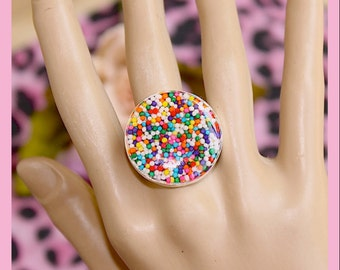 Sprinkle Ring, Statement Ring ,Big Bold Sweetness Round 18mm Rainbow Sprinkles Resin Adjustable Ring By: Tranquilityy