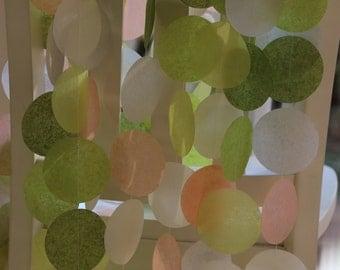 Tissue Paper Garland, Party Garland, Birthday Garland, Wedding Garland, Peach Garland- Olive Green and Peach Hues