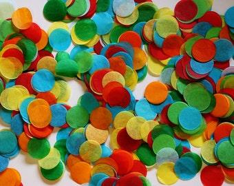 Tissue Confetti, Rainbow Color Confetti, Hungry Caterpillar Confetti - Circle Shaped
