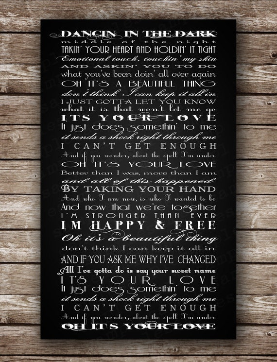 First Dance Wedding Song - Tim McGraw & Faith Hill - It's Your Love - Custom PRINTABLE POSTER