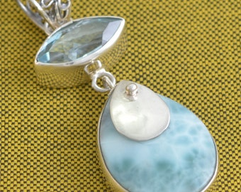 Baby Blue Larimar Blue Topaz 925 Sterling Silver Jewelry Pendant E688