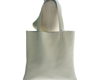 Big LEATHER TOTE BAG Chalk White Everyday Tote in soft leather 16 x 15 ready in stock Pebbled leather white leather tote bag men or women