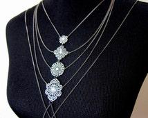 Kore vintage silver bridal body chain | antiqued silver filigree body chain