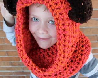 Orange and Brown Bear Chunky Crochet Over the Head Cowl Scarf - One Size Fits Most by Julian Bean