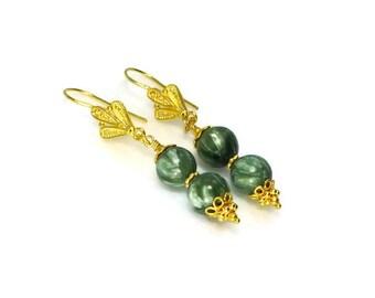 Seraphinite Earrings,  Seraphinite Jewelry, Green Stone Earrings, Semi Precious Jewelry, Gold Vermeil