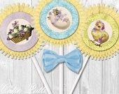 "Easter Cupcake Toppers, 2"" Custom Party Squares By Cutie Putti Paperie"