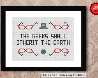 Geeks shall inherit the earth PDF cross stitch pattern