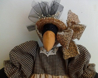 Handmade, Primitive, Crow, Doll,