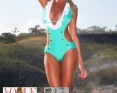 ON SALE! Ruffled Sailor One-Piece Mint Custom Monokini Swimsuit