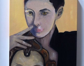 Original Contemporary Painting of Woman -Fashion Art - Elizabeth drops her mask