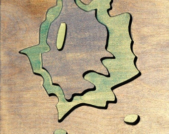 Petrified Forest, West of Dry Wash, Acrylic on Birch Plywood, map art