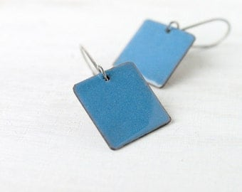 Urban blue earrings - enamel minimalist earrings - sterling silver earwire - small squares - enamel jewelry by Alery