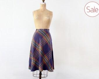 1970s plaid cotton skirt