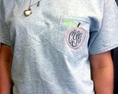 Short Sleeved MONOGRAMMED Peach Pocket Tee Shirt - Fall Peach Georgia Country Southern