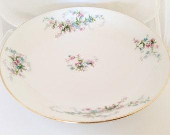 French Limoges Soup Serving Bowl - Bone China Dessert Meadow wild flowers - green pink white blue shower bridal - Bawo Elite Pouyat Dotter