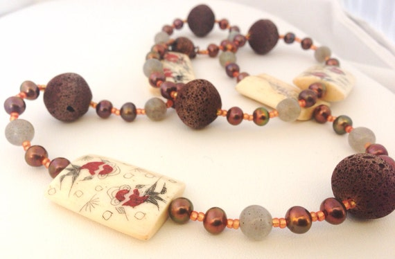 """Koi Fish Bone Tile & Chocolate Brown Lava Beaded necklace with Labradorite, Pearls and Copper Beads - 24"""" - Orange, Cream, Brown, Grey"""
