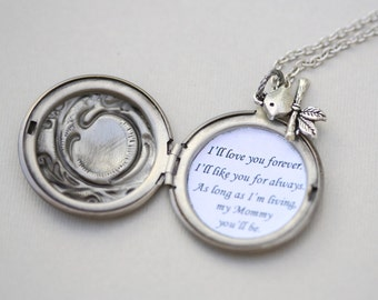 Personalized I'll Love you forever I'll like you for always Locket ,Locket Necklace,Mother's Day,Necklace,Bird,Wedding Necklace