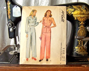 Vintage Lounge Wear Pattern 1943 McCalls Ladies Pattern Pajamas Pattern Size 12 Sewing Room Seamstress
