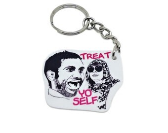 Treat Yo Self -  Keychain - Pink - Funny - Birthday - Gift - Graduation - Pop Culture - Aziz Ansari - Donna Meagle - I Want Pasta - Allora