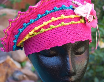 Pink Blue Yellow Crochet Hat with Roses...