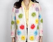 60s Daisy Embroidered Sweater~ 1960s Vintage Cardigan Sweater ~  S-M