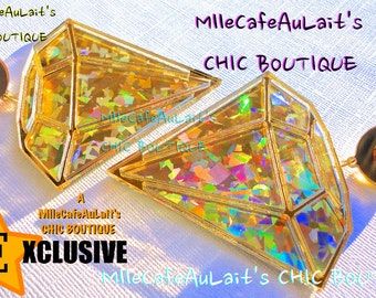 EXCLUSIVE Laser Cut Acrylic 3D Swarovski Diamond Earrings - Canary GOLD Deluxe