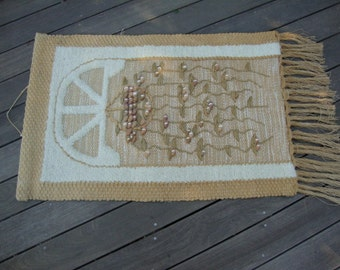 Vintage Woven Knotted Wall Hanging Farmhouse Decor Country Rustic Decor Cottage Folklore Wall Art Window Basket Weave RA