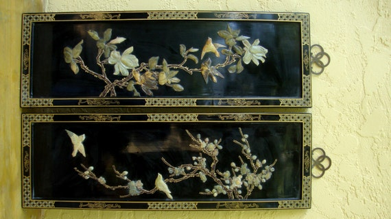 Vintage Chinese Black Lacquered Wood Ornate Wall Hanging Jade