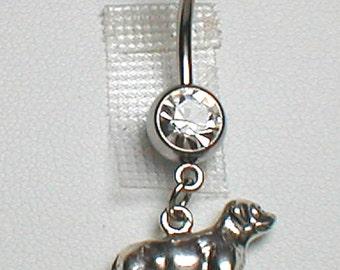 Dog Belly Ring - Sterling Silver Labrador Retriever