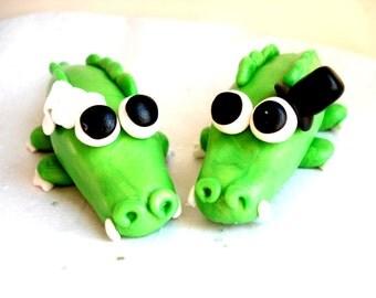 Alligator Wedding Cake Topper, Polymer Clay Gators Wedding Cake Topper Customizable