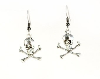 Skull and Crossbones Earrings on Steel Hooks or Clip Ons