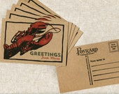 Lobster Postcard on Kraft Paper - Greetings from Maine - Woodcut Style - Vintage style postcard of Maine Lobster