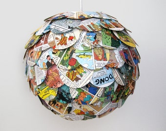 The Manhasset Cartoon Pendant Light - Colorful Hanging Paper Artichoke Lantern - Shade Only